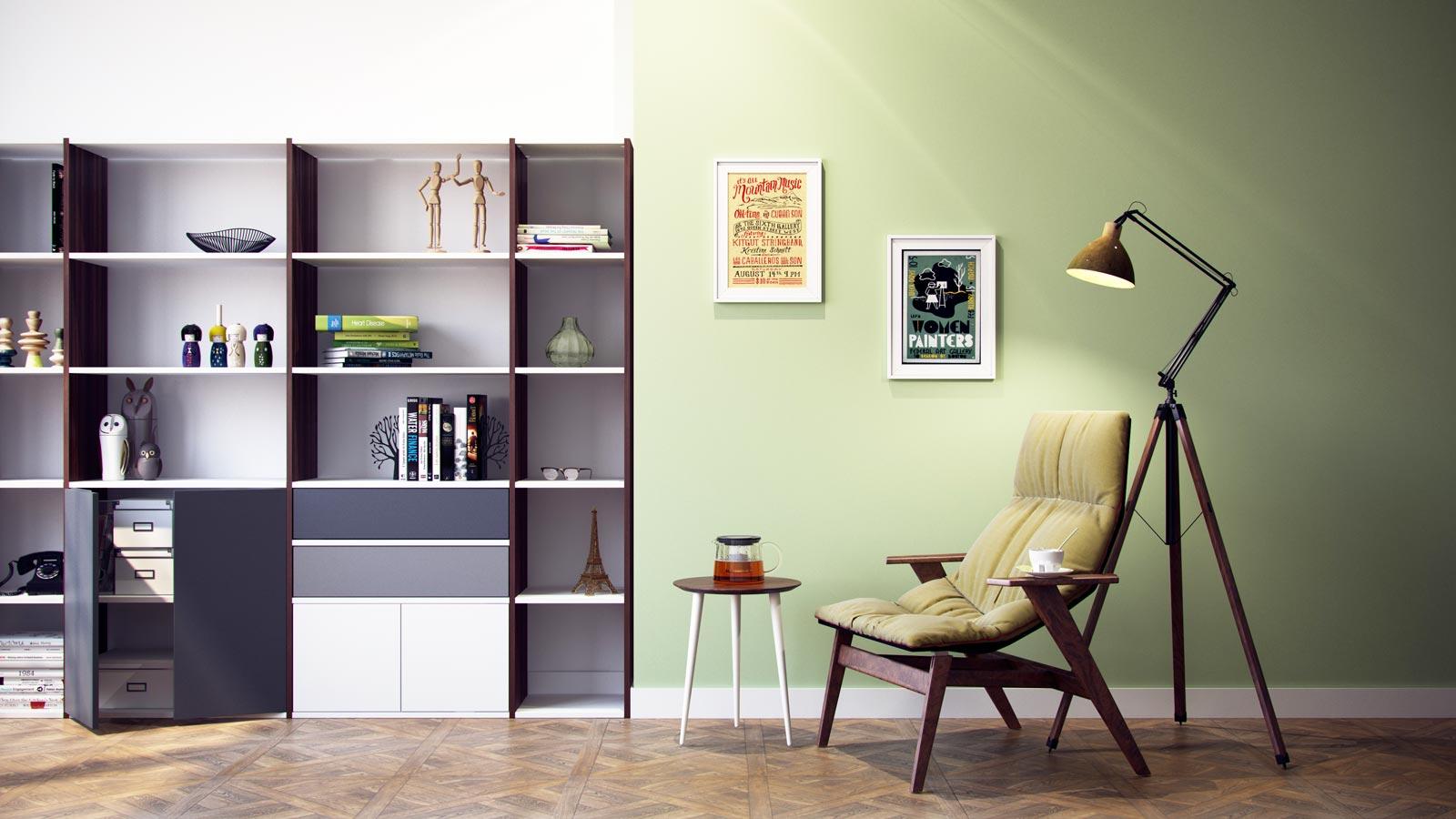 Moderne Wohnwand selbst gestalten | Regale bei MYCS