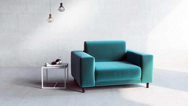 individueller Sessel in Grünem Samt