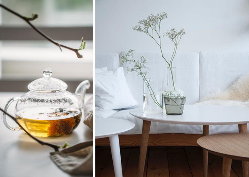 Collage avec du thé à gauche et des tables basses ECLYPSE à droite
